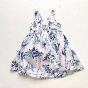 Old Navy blue floral midi dress EUC 18-24 months